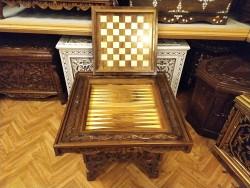 Ceviz Oyma Tavla ve Satranç Masası Hk-1401 - Thumbnail
