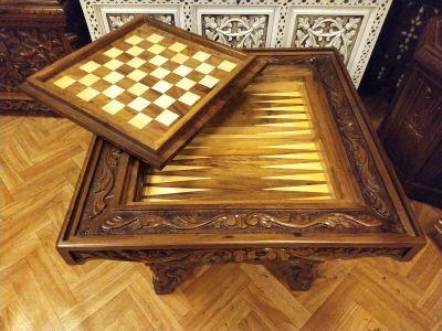 Ceviz Oyma Tavla ve Satranç Masası Hk-1401